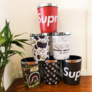 潮牌家用卡通皮革防水垃圾桶客厅卧室可爱大号分类干湿垃圾收纳桶