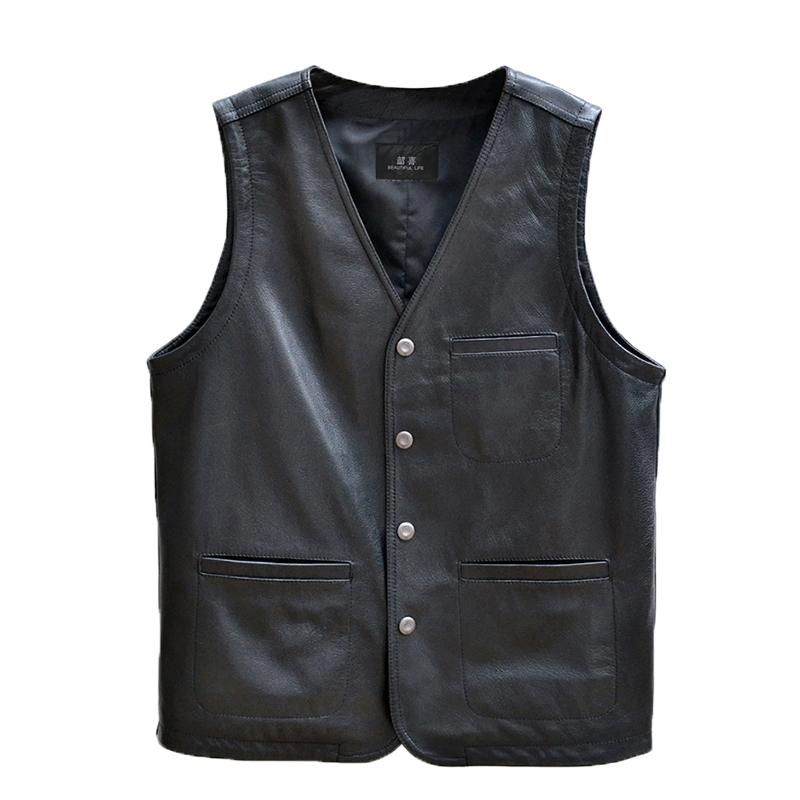 Winter outdoor middle aged and elderly mens leather thickened vest loose V-neck large warm shoulder vest coat