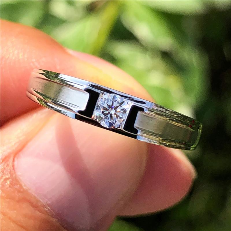 现货白18K金铂金男钻戒钻石男戒指环结婚订婚求婚情侣对戒正品