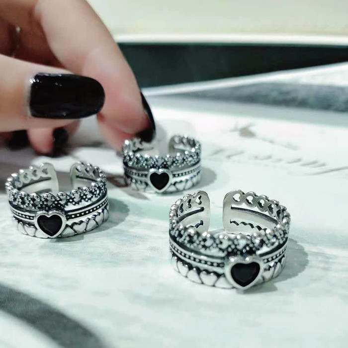 Popular love ring S925 sterling silver jewelry female retro Thai silver multi layer love knuckle food ring temperament Korean decoration