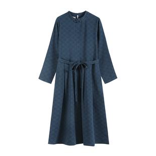 三五年Q394文藝復古暗紋提花森系秋裝寬鬆日系長袖連衣裙長裙女棉