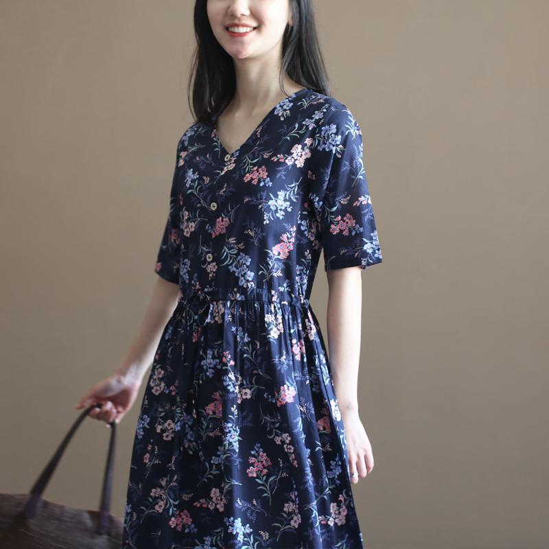 三五年q452森女纯棉碎花v领连衣裙(非品牌)