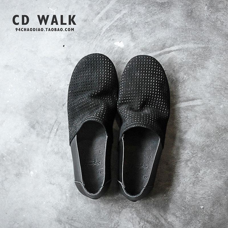 夏季镂空皮鞋男开车一脚蹬真皮洞洞鞋休闲男鞋套脚透气日系单鞋软