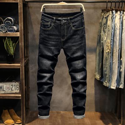 19秋季新款韩版潮流休闲黑色牛仔裤男士弹力修身小脚裤K925-P55