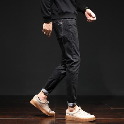黑色牛仔裤男韩版潮流长裤秋季修身小脚青少年休闲裤子男K920-P50