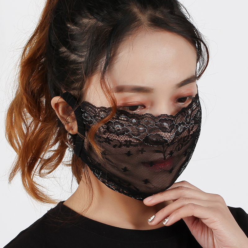 Summer mask womens thin sunscreen mesh Red Fashion Korean sexy lace breathable single layer black gauze mask in summer