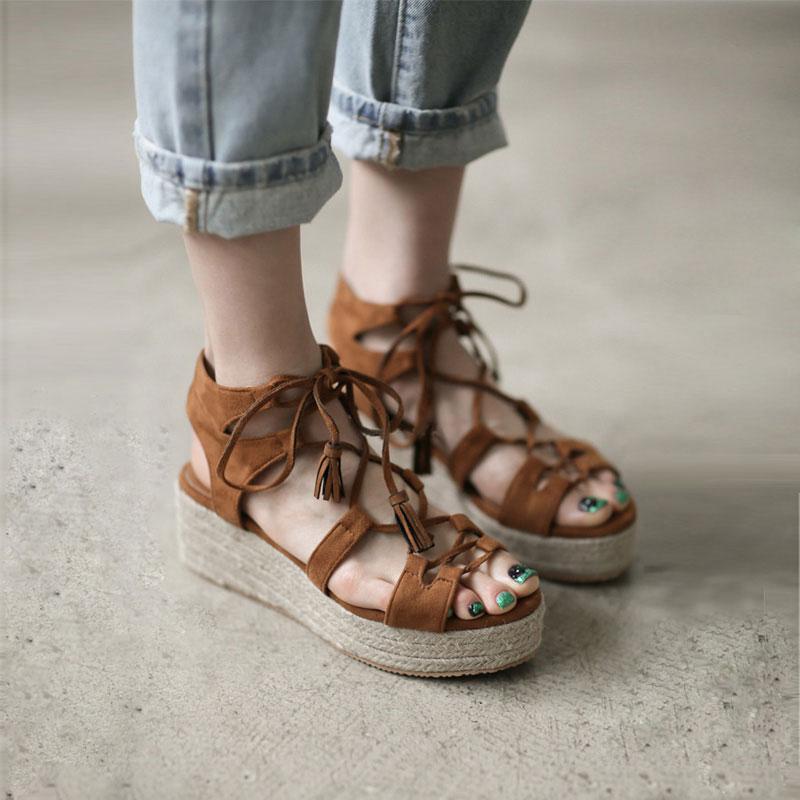 Hemp rope slope heel strap Roman sandals womens summer 2021 new leisure Korean high heel thick bottom muffin bottom womens sandals