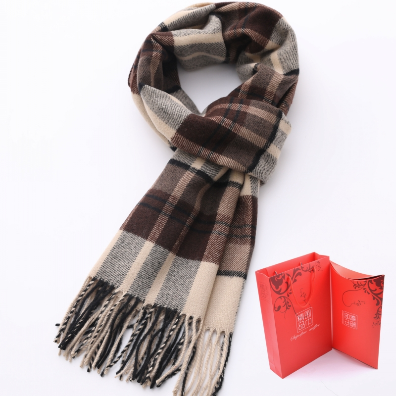 Gift box mens and womens scarves warm cashmere like Plaid middle aged thickened tide neutral winter students