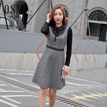 欧诗曼锦2019春季新款时尚格子连衣裙女韩版修身显瘦J19AL1787