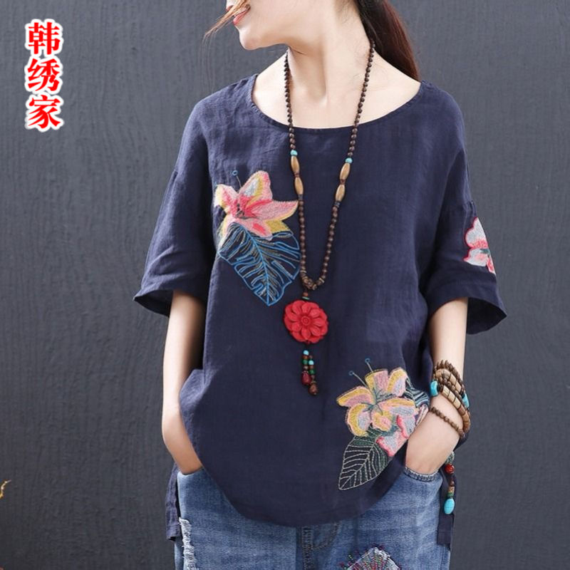 Womens new summer 2019 T-shirt Pure Cotton Retro ethnic embroidery loose crew neck large short sleeve top