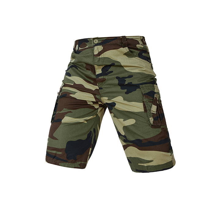Cotton green flower Camouflage Army fan overalls sea and land God of war outdoor mens and womens loose summer five point Multi Pocket Shorts