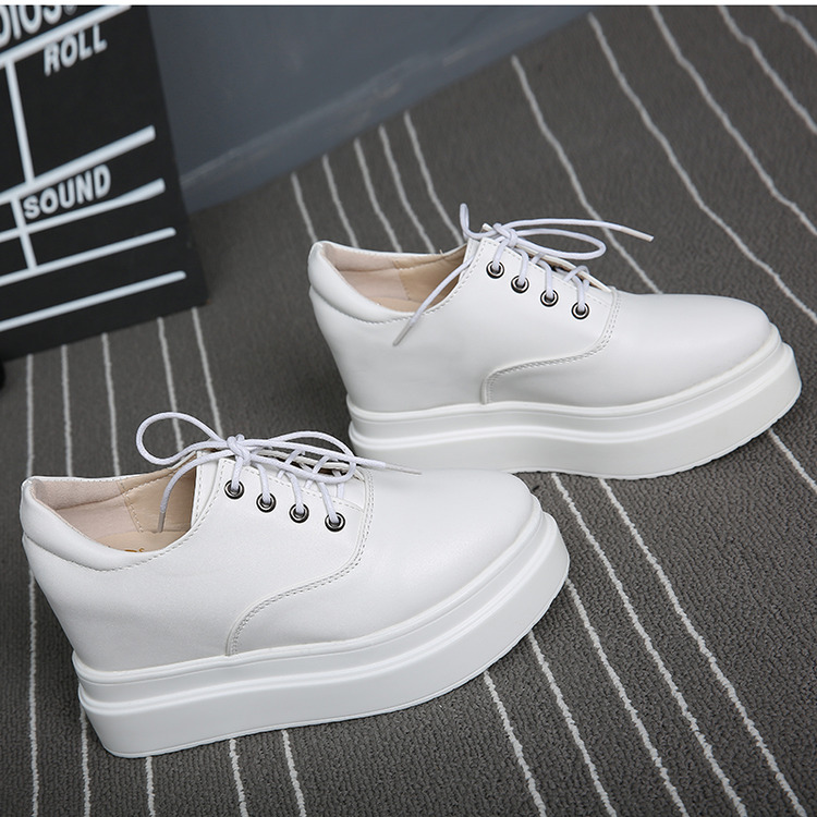 High rise thick sole super high heel slope heel muffin shoes lace up small white shoes single shoes womens shoes retro fashion non slip versatile
