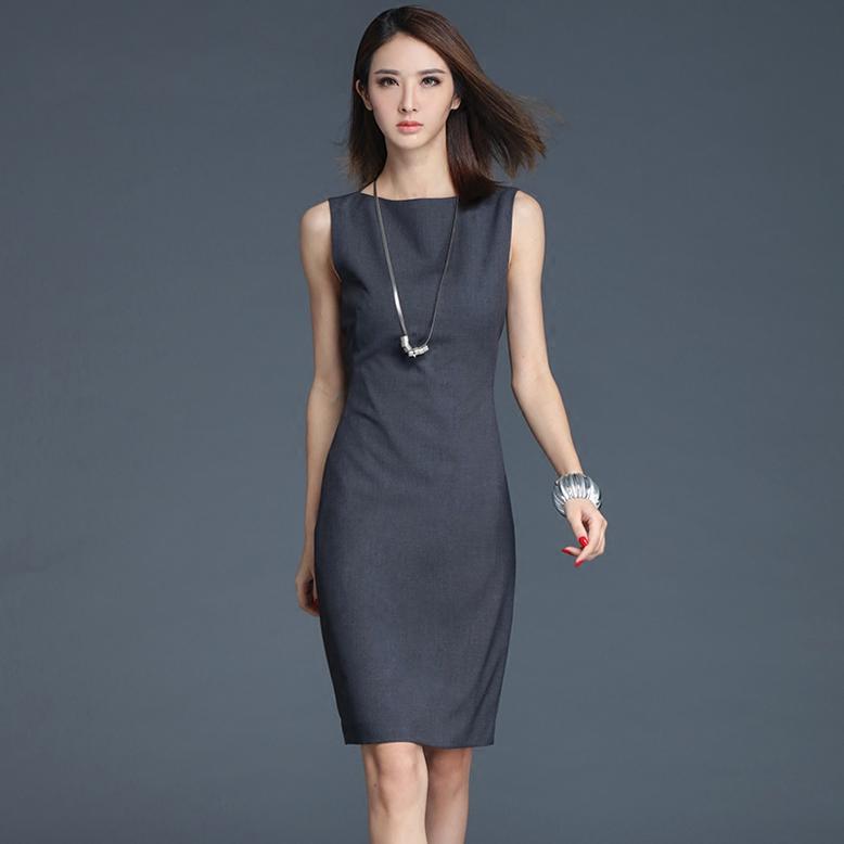 无袖 连衣裙女夏2018新款时尚OL修身显瘦灰色知性职业气质一步裙