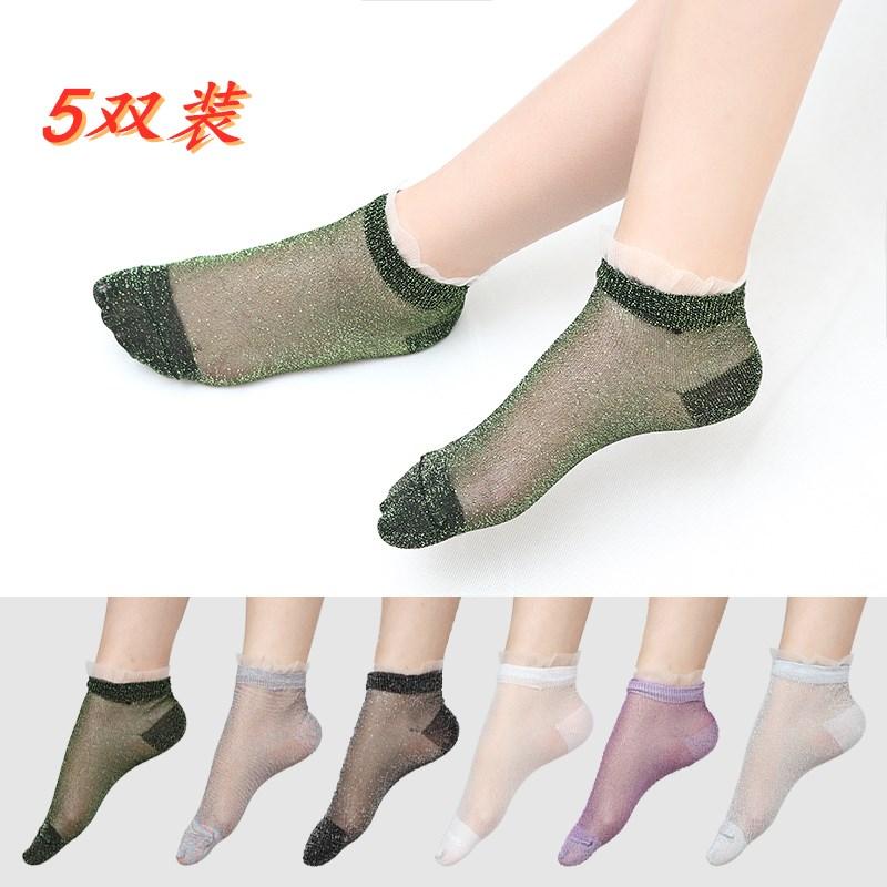 Socks childrens best-selling summer thin Korean version glass silk ultra-thin lace tide gold silver silk crystal silk pile socks