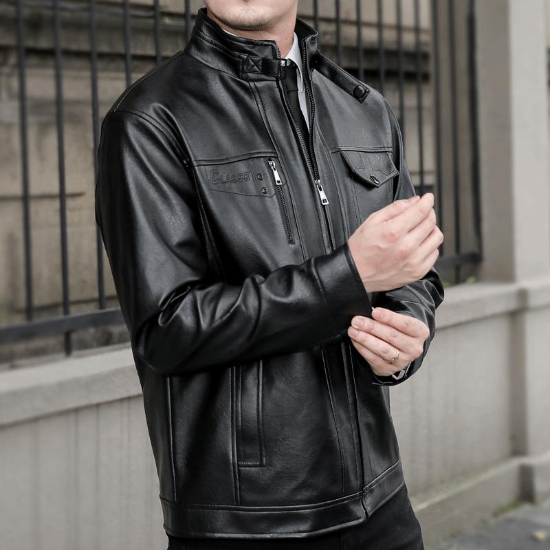 2021春新款冬季中年男士皮衣加绒加厚年轻冬装外套保暖立领皮夹克