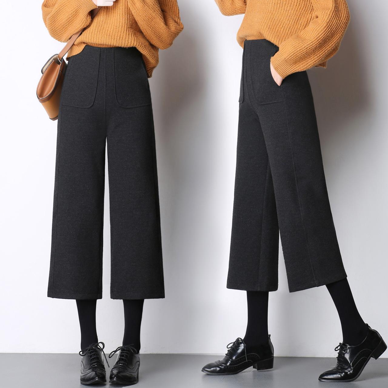 闊腿褲女九分秋冬新款毛呢韓版加厚高腰直筒褲寬松休閑文藝寬腿褲