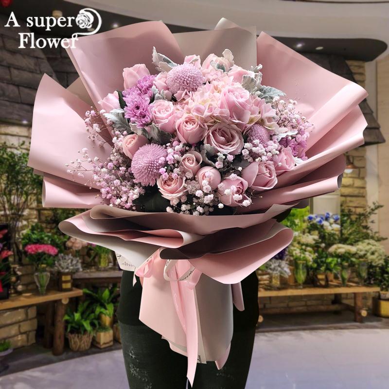 杭州速递同城玫瑰花混搭爱人花束