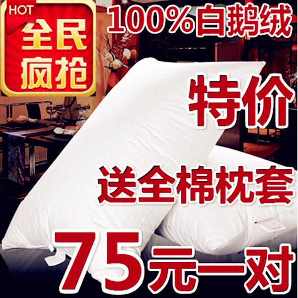 專櫃正品羽絨枕芯100%白鵝絨枕頭五星級酒店專用枕保健枕一對特價