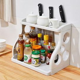 集美 双层厨房置物架调味料收纳架落地塑料刀架调料架调味品架子