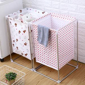 北欧简约家用棉麻脏衣服收纳筐可折叠支架防水超大脏衣篮篓储物箱