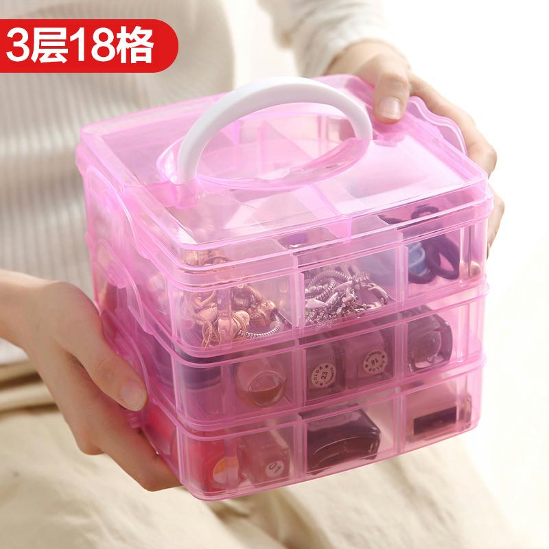首饰收纳盒大容量整理盒项链戒指耳钉耳环收纳盒首饰盒装饰品盒子图片