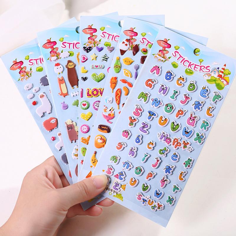 卡通防水幼儿园儿童奖励贴纸韩国粘贴立体可爱韩版小动物装饰贴