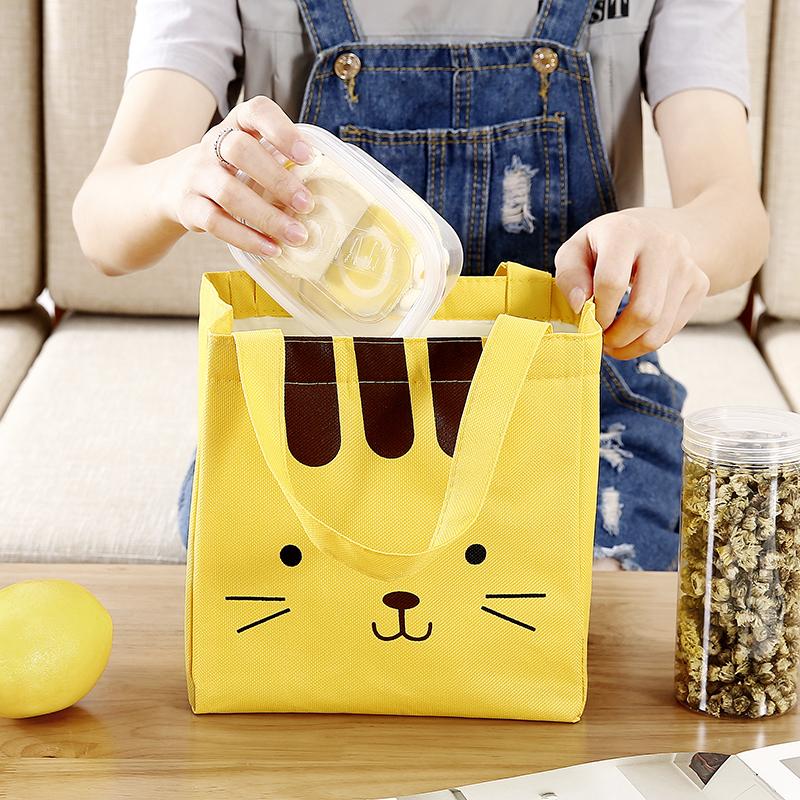 �盒袋帆布手提保�卮�子�X箔加厚�n版清新��咪午餐�b�э�的便��包
