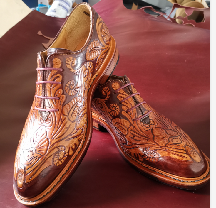 Oxford shoe leather carving style Goodyear craft