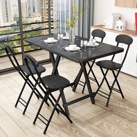 家用小户型免安装折叠餐桌长方形四六人出租屋吃饭桌子简易铁架桌图片