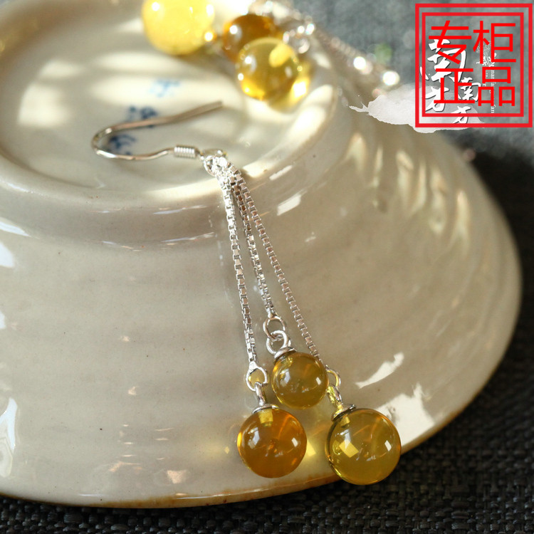 0429 smart silver jewelry natural amber beeswax Blue Pearl temperament fairy girl Tassel Earrings