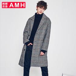 AMH男装2018冬装新款青年长款千鸟格子毛呢大衣情侣外套男NX9002