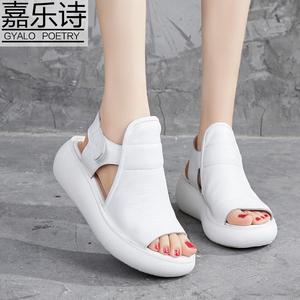 平底凉鞋女夏天新款真皮松糕厚底罗马鞋增高休闲百搭软底鱼嘴皮鞋
