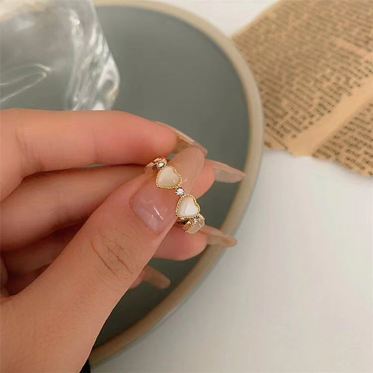 European and American style personalized Opal Ring womens fashion creative design sense index finger ring ins sweet cool temperament open ring