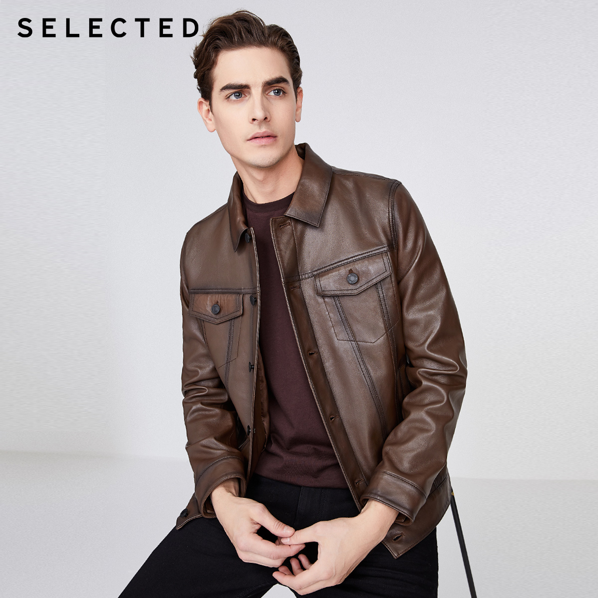 Selected Slade new sheep leather trend casual jacket leather coat men's r420110506