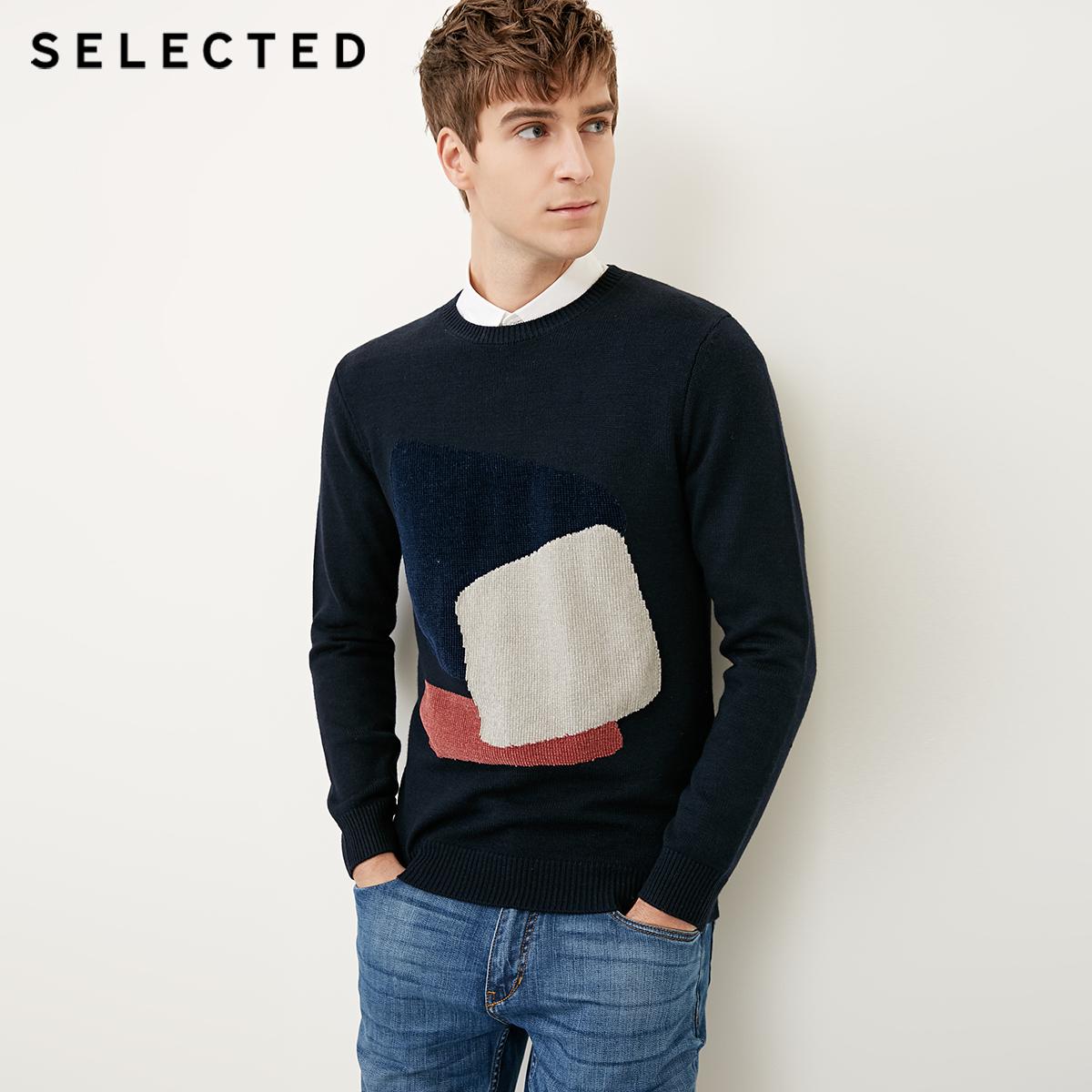 Собирать SELECTED мысль сорняки мораль новый бараны волосы заклинание ткать круглый вырез мужчина свитер свитер S|418124545
