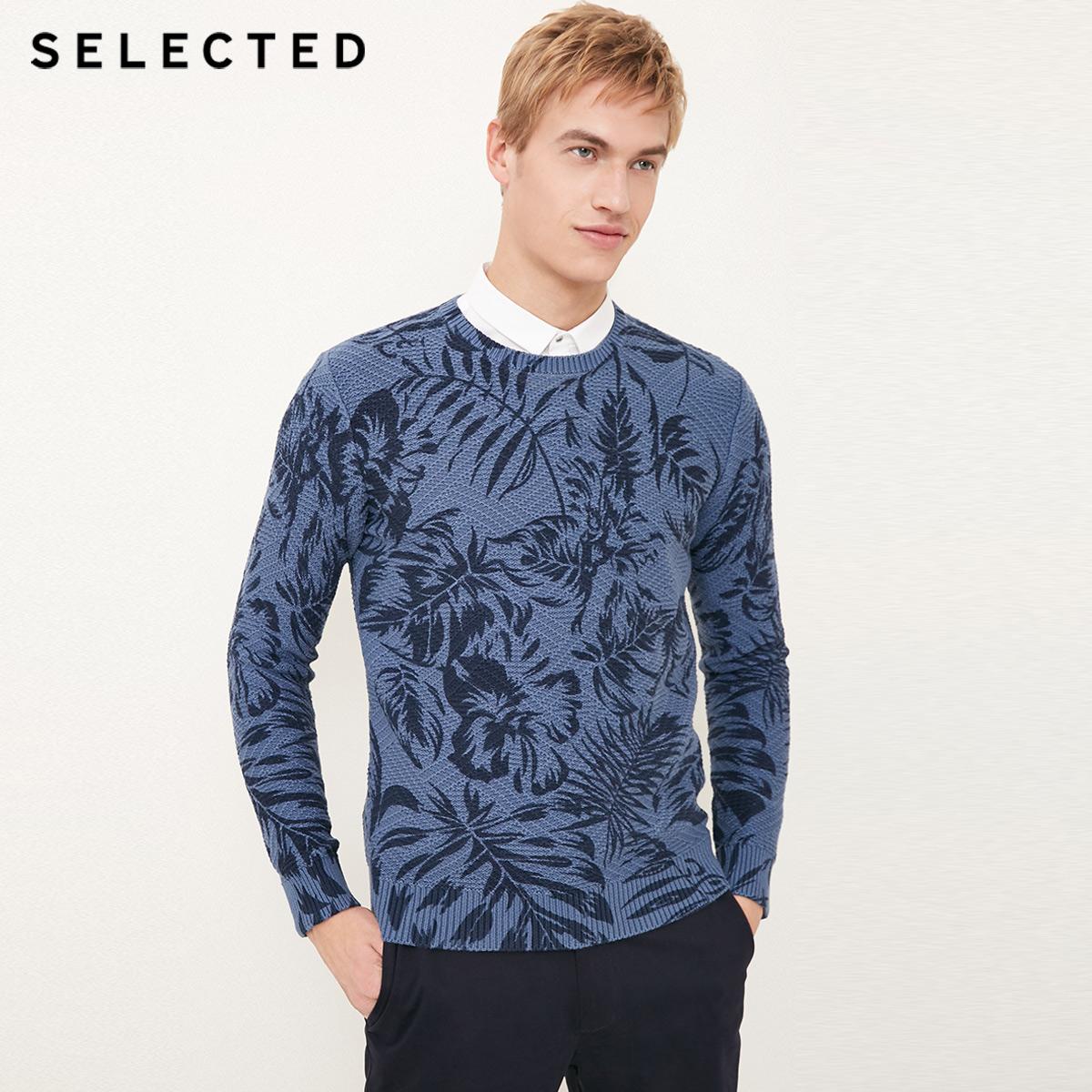 Собирать SELECTED мысль сорняки мораль новый pure хлопок тенденция печать случайный мужчина свитер свитер C|418124535