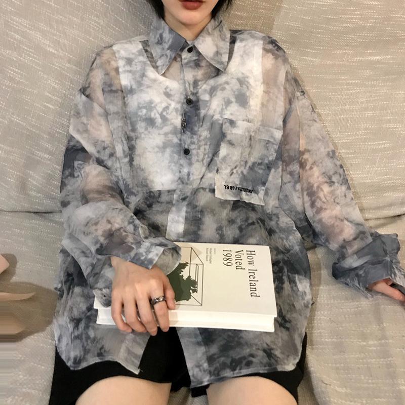 夏季ins原宿风防晒衬衫女长袖薄款网红扎染衬衣宽松中长款上衣潮