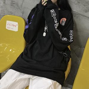 ins黑色长袖T恤男女潮宽松韩版BF原宿风复古秋季新款打底上衣学生