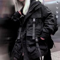 秋季韩版ins原宿街头百搭黑色工装外套女宽松bf中长款连帽夹克潮