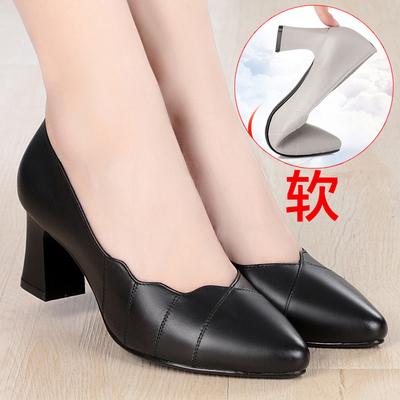 春秋黑色妈妈鞋单鞋真皮工作鞋百搭女士皮鞋中跟夏季牛皮低跟女鞋