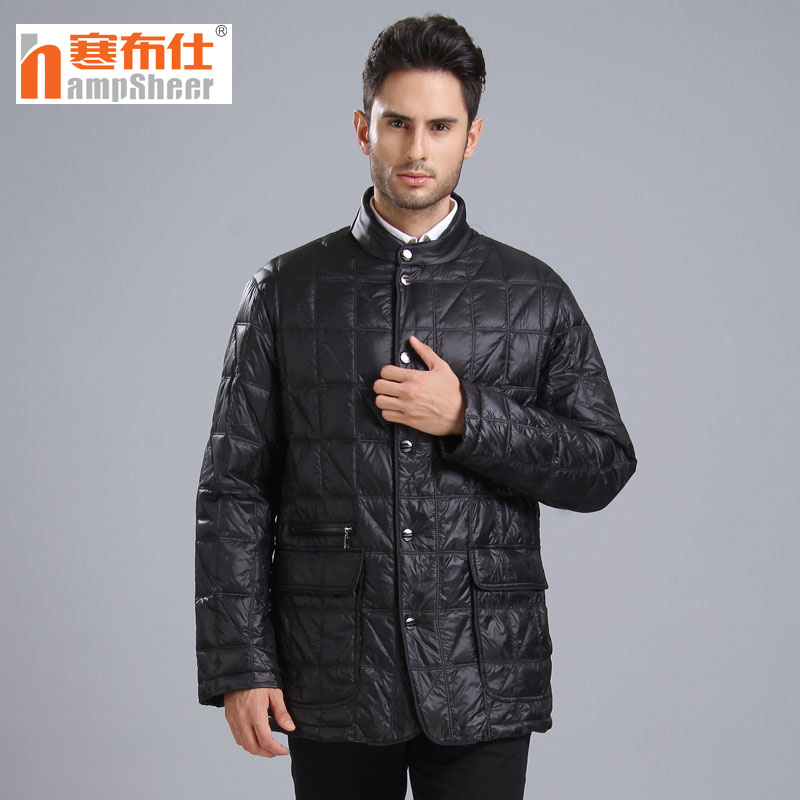 Mens down jacket middle and long down fathers suit middle and old age stand collar business coat cambris 1388