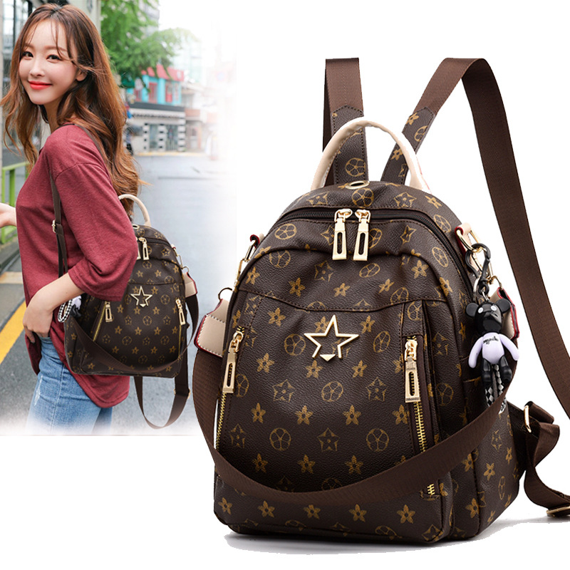 Backpack womens bag 2021 new simulation leather versatile travel large capacity mother leisure Womens soft leather bag