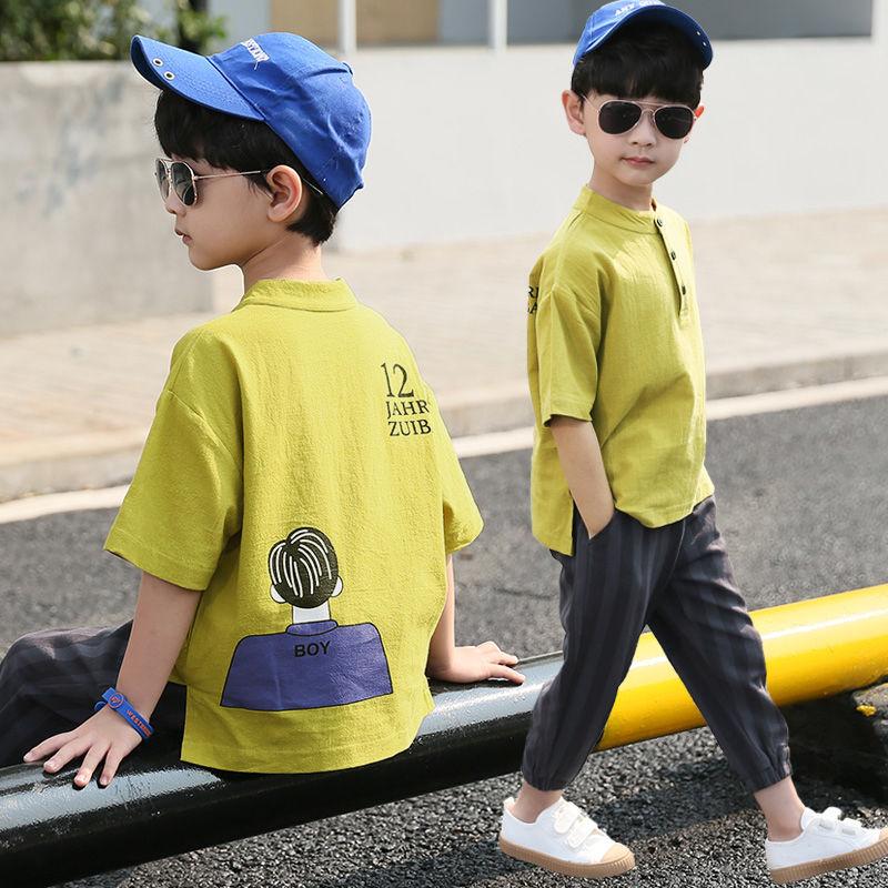 男童套装洋气中大童男装夏装7十10小男孩子11儿童短袖衣服12-15岁