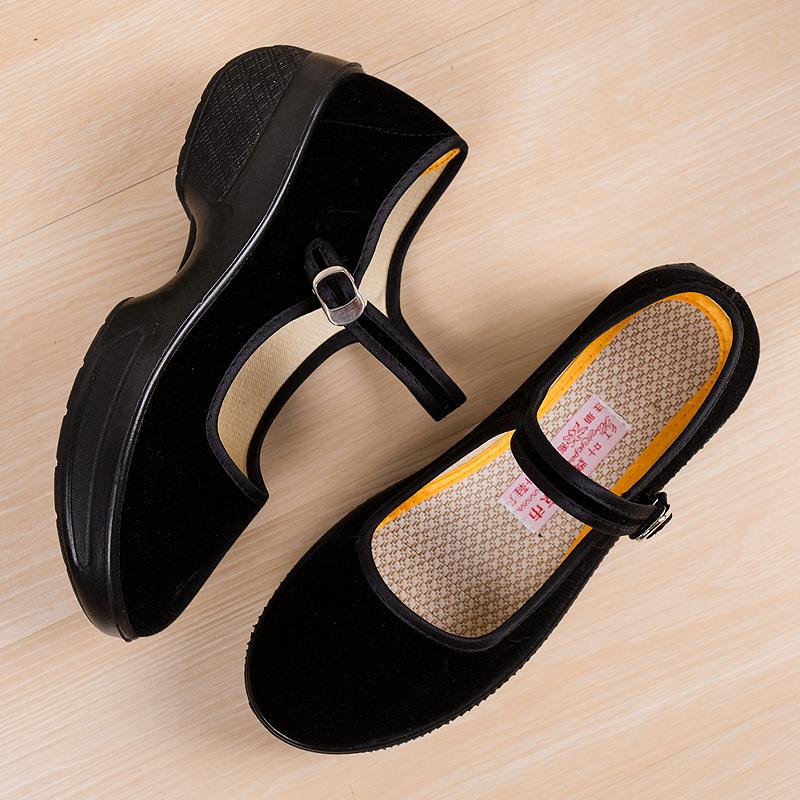 老北京工作鞋女黑色夏软底上班职业舒适不磨脚坡跟布鞋女2018新款