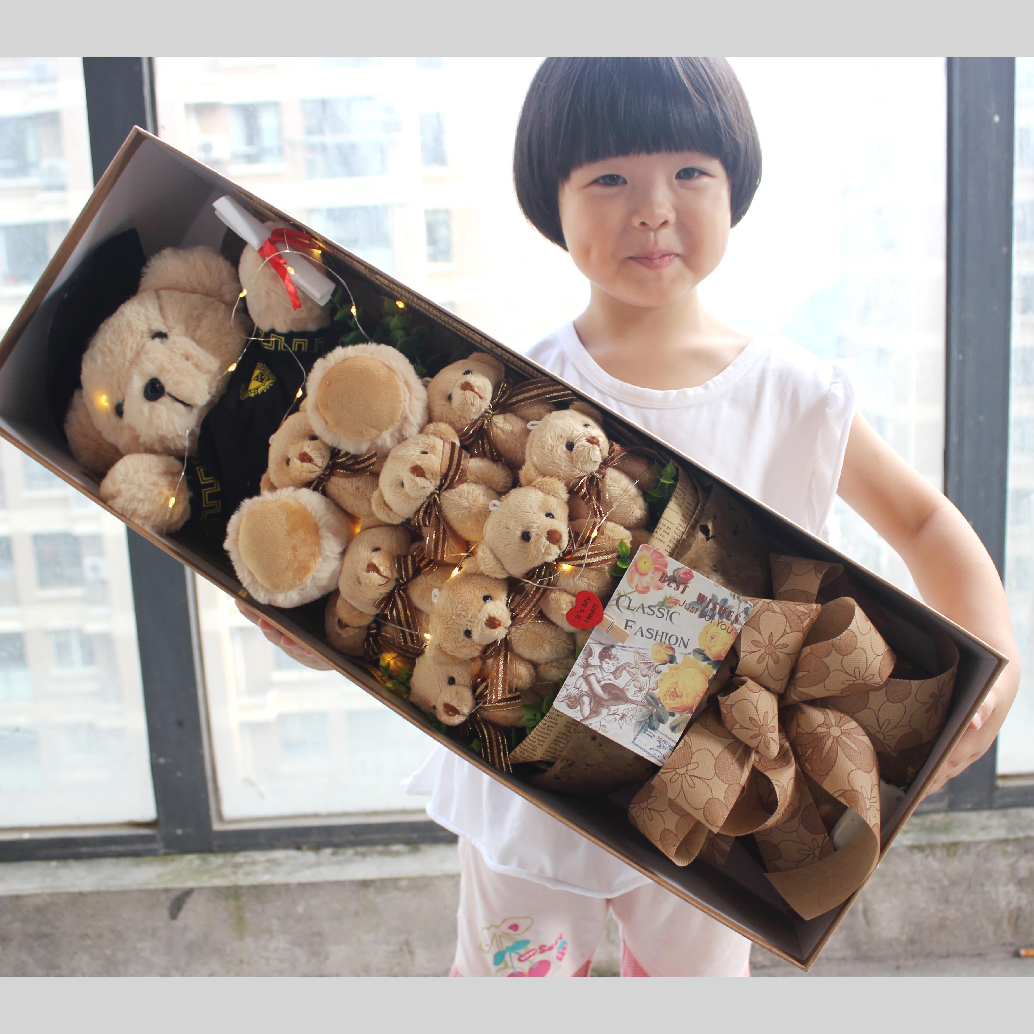 卡通泰迪小熊花束礼盒公仔香皂玫瑰送女朋友闺蜜生日毕业节日礼物