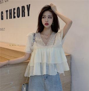 夏季新款韩版荷叶边v领蕾丝上衣宽松短袖显瘦洋气超仙雪纺衫女潮