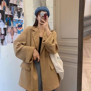 秋季2020新款韩版休闲宽松英伦风炸街薄款小西装外套女士西服上衣