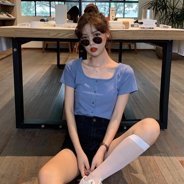 夏季2019新款韩版修身显瘦短袖小心机t恤女小众方领纯色短款上衣11月08日最新优惠