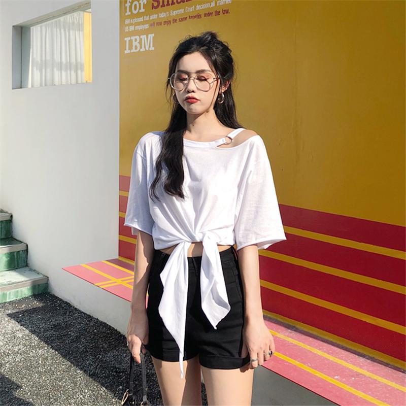 夏装2018新款韩版漏肩小心机网红同款上衣服宽松显瘦短袖T恤女潮