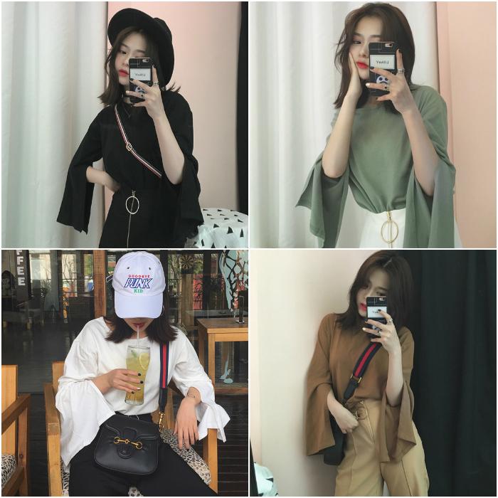 开叉喇叭袖大码纯色长袖T恤女韩版宽松学生秋装女上衣修身打底衫